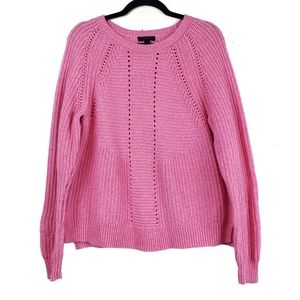J. CREW Pink Wool Blend Pointelle Cable Sweater L